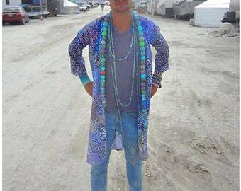 Psychedelic Frog Long Silk Kimono Jacket