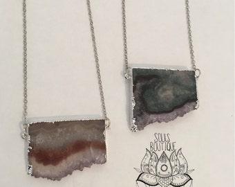 Amethyst slab necklace