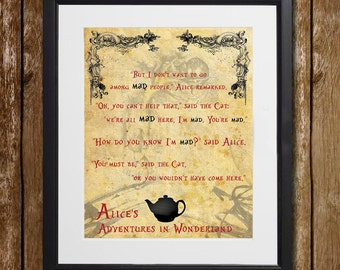 Alice's Adventures in Wonderland We're All Mad Here Wall Art - Lewis Carroll - Cheshire Cat Quote - Wonderland Wall Decor - Alice Print