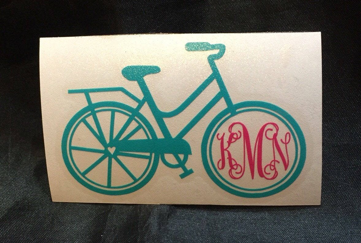 bicycle monogram sticker vinyl decal
