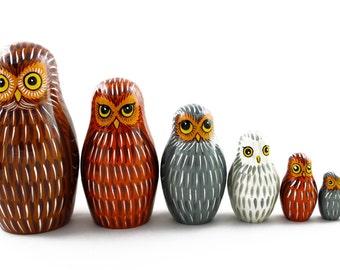 Matryoshka Matrioshka Russian Nesting Doll Babushka Sova Eagle Owl Family of Owls Set 7 Pieces