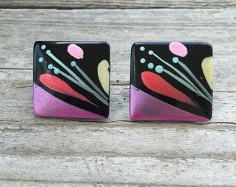 Vintage Black Abstract Painting clip on earrings (1980s)