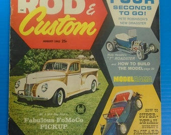 ROD & CUSTOM Magazine August 1962...'40 Ford...AMT...Green Pages!