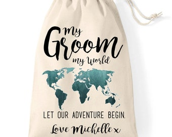 The Groom wedding day cotton gift bag | Wedding morning personalised husband to be treat bag | Let our adventure begin.