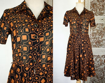 70s Japanese Sheer Gauze Cotton Shirt Dress/ Collared Button Up Secretary Dress/ Black Geometric Graphic Novelty Print/ Midi Party Dress XS