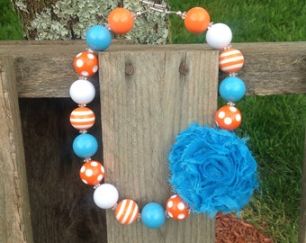 Chunky necklace, shabby flower, bubble gum bead necklace, kids necklace, orange chunky necklace, girls necklace, free shipping