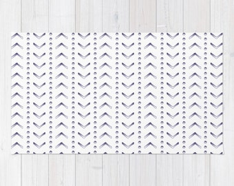 Woven Rug - Ombre Chevron Dots - White / Mint Yellow Blue Navy Pink or Clay - 2'x3' 3'x5' or 4'x6' - Bedroom Nursery Living Room