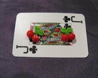 Rockabilly cherry stud earrings