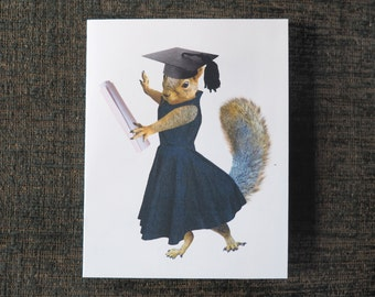 Girl Squirrel Grad Printable Graduation Card