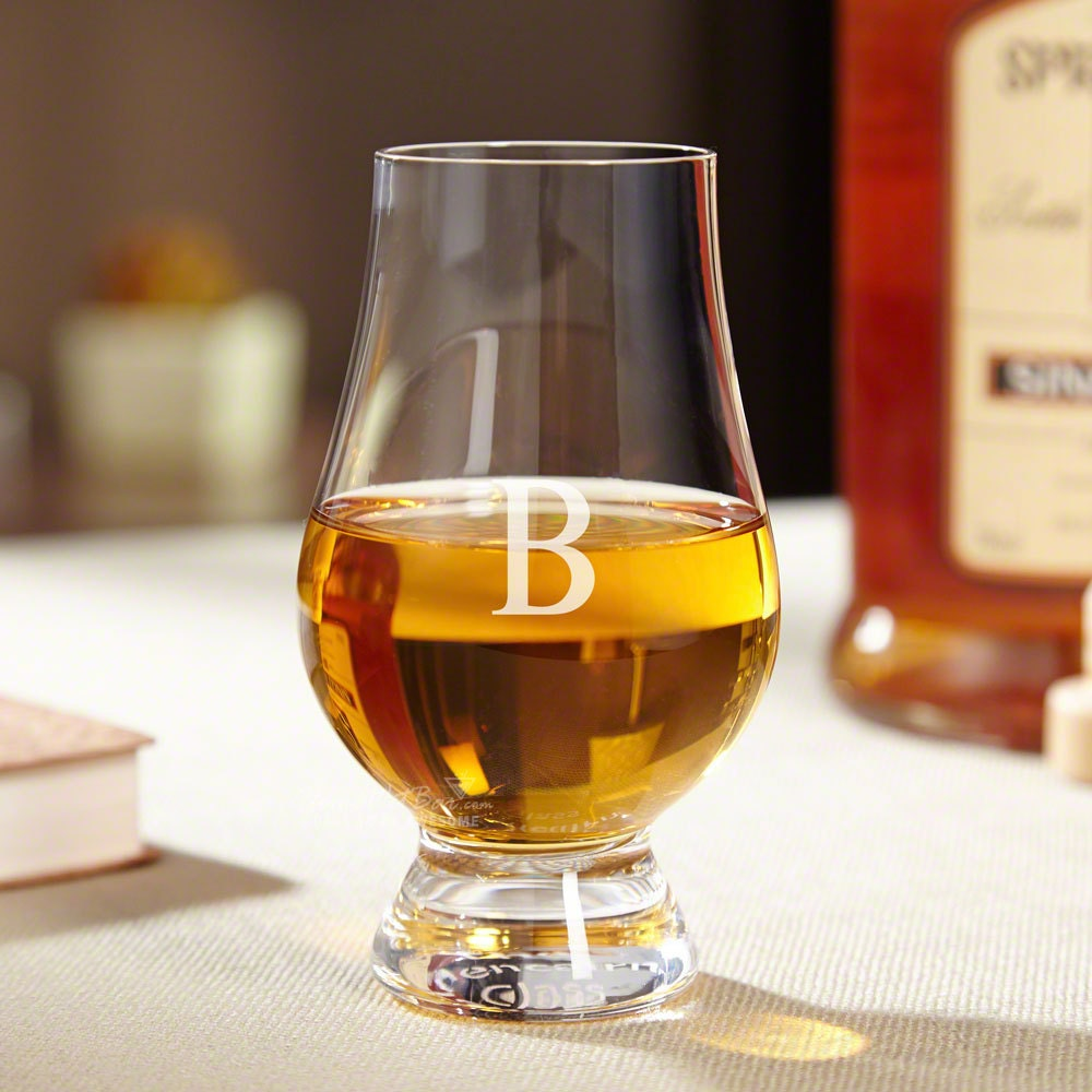glencairn whiskey glass personalized with single initial