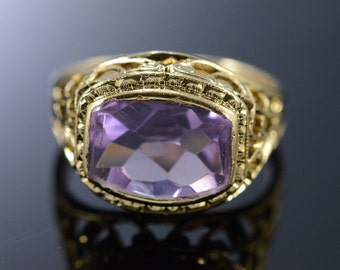 10K 2 Ct Amethyst Filigree Baby Ring Size 3.25 Yellow Gold
