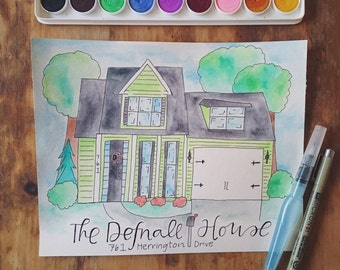 Custom Watercolor Home Portrait - House Illustration - Personalized Home Painting