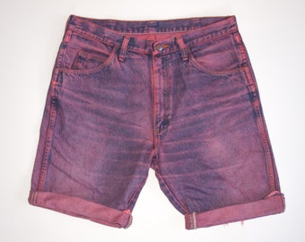 NEON DENIM fuschia hand dyed cutoff SHORTS size 34