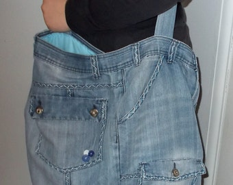 Blue Jean Bag Recyled/Upcycled Jean bag with Blue and White Hand Sewn Embroidery.