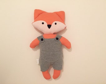 Personalised handmade fox soft toy plushie orange white grey dungarees newborn baby shower gift girl boy