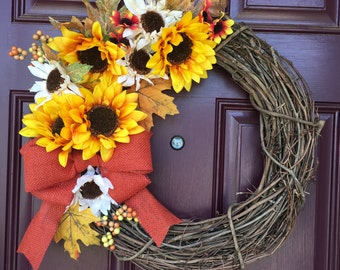Sunflower Wreath, Fall Wreath, Autumn Wreath, Front Door Decor, Grapevine Wreath, Burlap Bow, Harvest, Thanksgiving, Door Decor, Wreath
