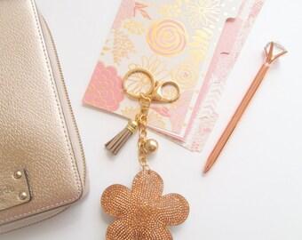 Rose Gold Flower Key Chain