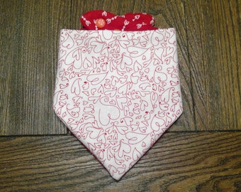 Valentine's Day Hearts with Cupids Arrows Bibdana Waterproof/Reversible for Infants and Toddlers Handmade