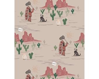 Crib Sheets-To Catch a Dream-Cotton-Quilting Fabric-Native Boy-Desert Headdress Fireflies Wolfpup Cactus-Fitted- Bed Sheet-Mini Crib Sheet