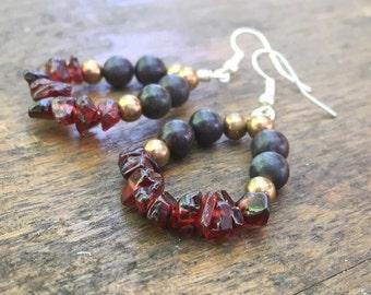 Garnet earrings - Gemstone earrings - Jasper earrings - Beaded earrings - Red earrings