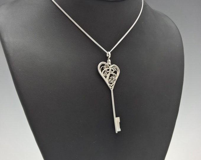 Featured listing image: One of a Kind Filigree Key Pendant!  Sterling and Fine Silver on 20 inch adjustable chain.