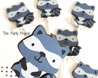 Free Shipping - 12 Raccoon Cupcake Toppers | Little raccoon baby shower | Forest animals cupcake picks | Woodland theme birthday party decor