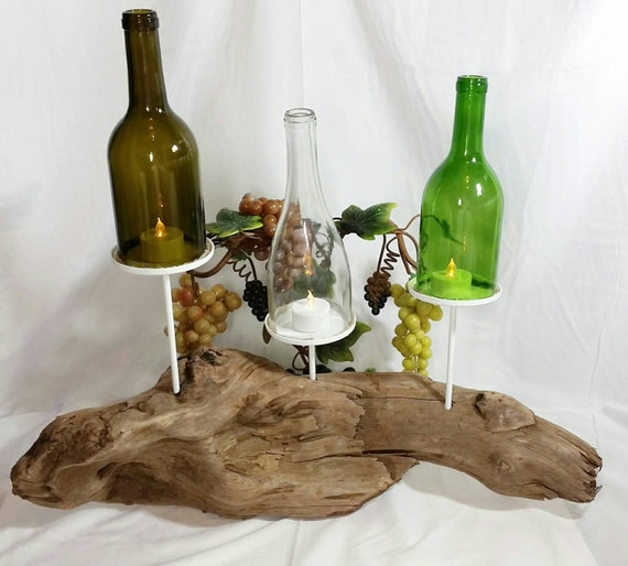 Items similar to recycled wine bottle hurricane driftwood for Beach wine glass candle holders