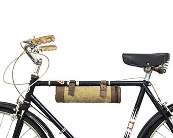 Waxed Canvas Bike Pack Tube Handmade by Hide & Drink