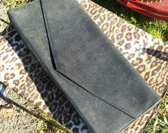 VINTAGE Barneys New York Eelskin Oversized Leather Clutch