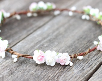 Light Pink Flower Girl Crown, White Toddler Flower Crown, Girls Flower Crown, Pink and White Rose Crown, Floral Hair Wreath, Wedding Hair