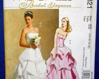 Bridal Elegance sewing pattern McCall's M5321 misses US sizes 14 to 20 wedding dress pattern