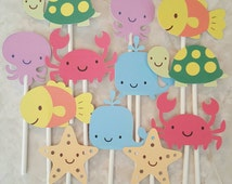 Under the sea cupcake toppers - set of 12, ocean theme, cake toppers, centerpiece