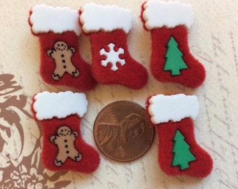 SET of 5 VERY detailed Red Felt with Acrylic Embellishments Christmas Stocking Shank Buttons