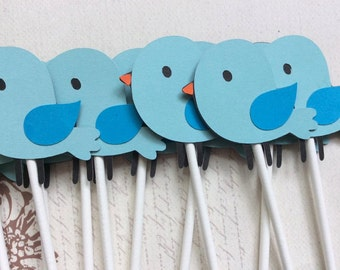 12 Lil' Baby Blue Birds Cupcake toppers/baby shower/birthday toppers/ party decoration/baby toppers/ shower toppers