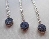 Blue Druzy Necklace /Small Round Blue Druzy / Natural Dark Blue Sillver Druse / Blue Silver Stone / Bridesmaid Gift Wedding/ GD16