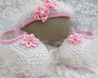 Hand Knitted Baby Girl Shoes & Headband