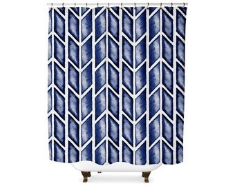 Indigo arrow tribal shower curtain