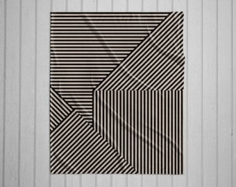 Black and tan stripe pattern modern plush throw blanket with white back