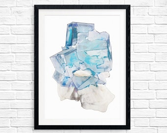 Blue and purple flourite mineral printable art