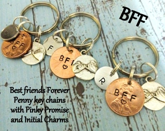 Personalized Best Friends Key Chains,Set of 3 Keychains,Pinky Promise Keychains,BFF Keychains,Best Friend Gift,BFF Gift,Best Friend Keychain