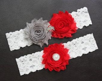 Ohio State Buckeyes Wedding Garter Set, Ohio State University Garter, Ohio State Buckeyes Bridal Garter Set, White Lace Wedding Garter