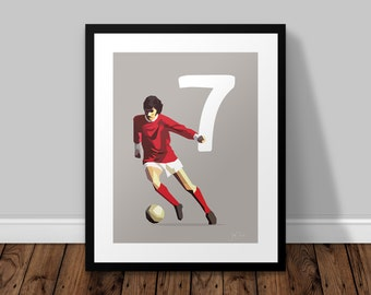 George Best, Manchester United 7 Illustrated Poster Print | A6 A5 A4 A3