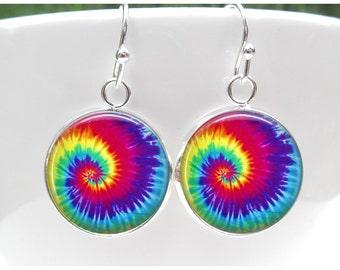 Grateful Dead Earrings - Dead Head Earrings- Gift for Deadhead - Tie Dye Earrings - post - leverback - french hooks