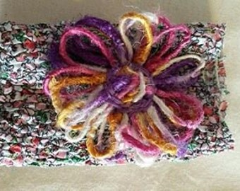 Fabric Wrist Cuff with Multi-coloured Yarn Flower