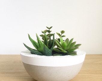 White Trim Planter Bowl