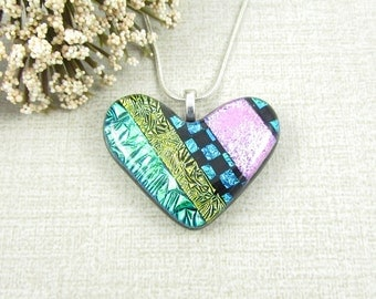 Dichroic Glass Heart Pendant - Patchwork Heart Necklace - Colorful Color Block Glass Heart Jewelry
