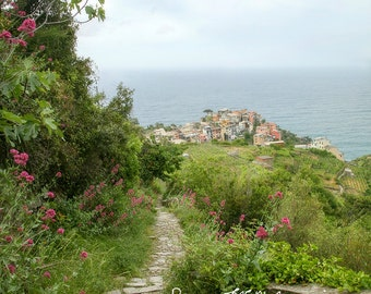 Italy photography, landscape  photography, Cinque Terre, Corniglia, ocean, hiking trail, Mediterrainean, large wall art, travel photography