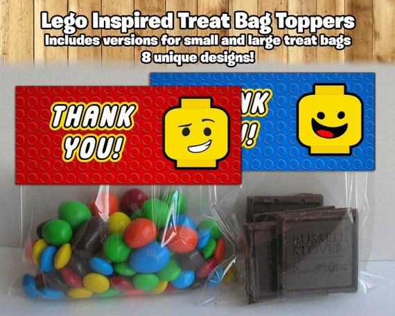 Lego Inspired Treat Bag Toppers Lego Treat Bag Topper Lego Birthday Party Candy Bags Lego Snack bag toppers party favor