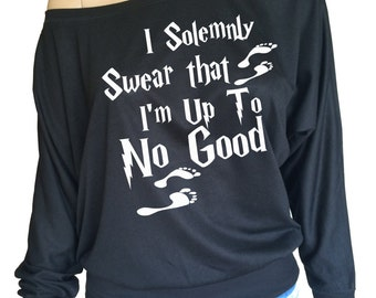 """Harry Potter inspired Ladies Flowy Off the Shoulder Long Sleeve t-shirt with """"I Solemnly Swear that I'm Up To No Good """""""
