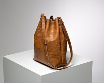 Leather bucket bag, Brown genuine leather bag, Shoulder bag, Leather cross body, Gift for her